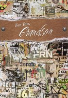 Earthtone Collage with Silver Foil Accents: Grandson (1 card/1 envelope) Designer Greetings Birthday Card
