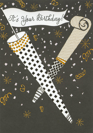 Black and White Party Horn with Gold Foil Accents Nephew Birthday