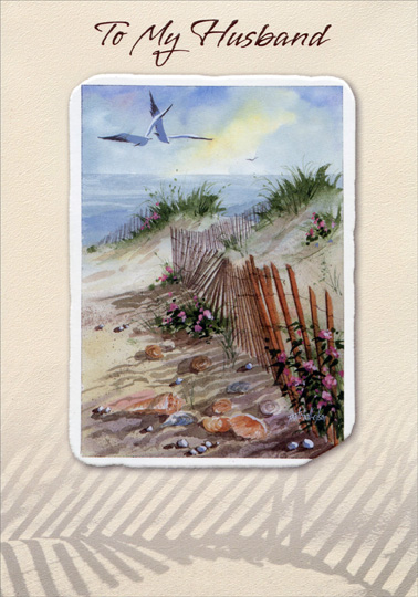 Embossed Beach Fence And Seagulls Husband Birthday Card By