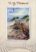 Embossed Beach, Fence and Seagulls: Husband (1 card/1 envelope) Designer Greetings Birthday Card