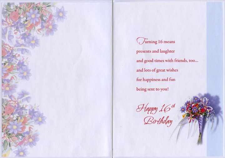 Girl With Large Purple Floral Bouquet Sweet 16 Birthday Card By