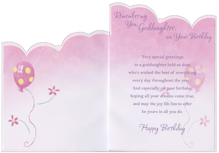 Pink Yellow And Purple Balloons Die Cut Goddaughter Birthday Card