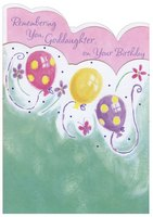 Pink, Yellow and Purple Balloons Die Cut: Goddaughter (1 card/1 envelope) Designer Greetings Birthday Card