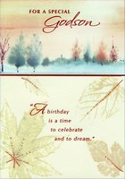 Glossy Leaves and Textured Tree Line: Godson (1 card/1 envelope) Designer Greetings Birthday Card