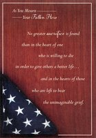 US Flag on Cherry Wood with Silver Foil: Military / Soldier (1 card/1 envelope) Designer Greetings Sympathy Card