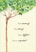 Thin Tree with Gold Foil Accents (1 card/1 envelope) Designer Greetings Cancer Survivor Card