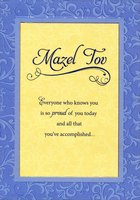 Mazel Tov on Yellow Inside Embossed Blue Frame (1 card/1 envelope) Designer Greetings Congratulations Card