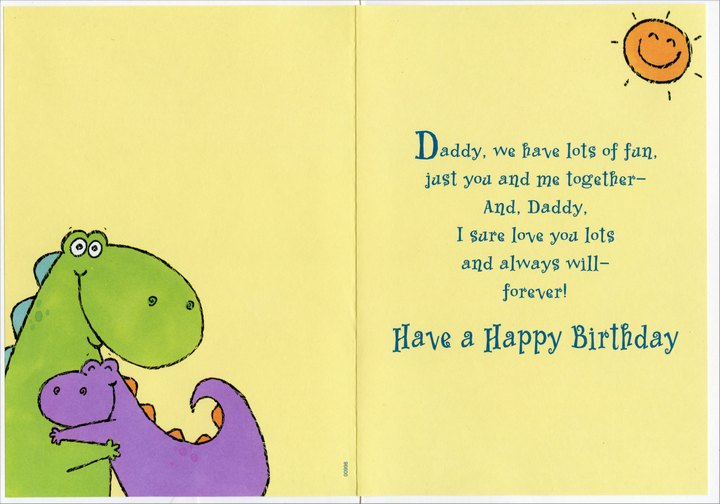 Purple And Green Dinosaur Hug Daddy From Daughter Birthday Card By