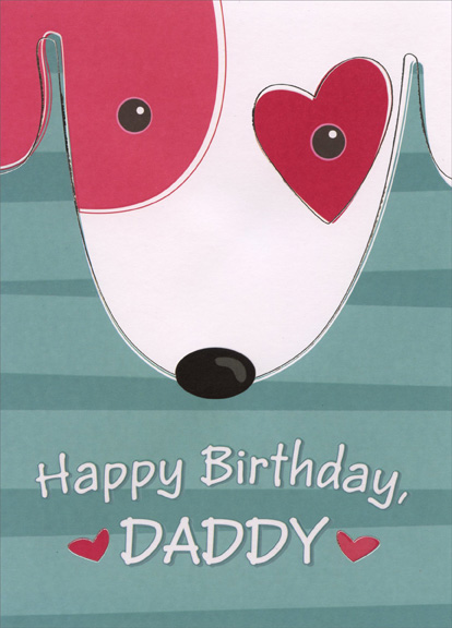 Dog Face with Red Heart Around Eye Daddy Birthday Card by – Birthday Card from Dog
