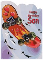 Red and Orange Skateboard Die Cut: Son (1 card/1 envelope) Designer Greetings Birthday Card
