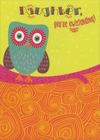 Cute Owl on Pink Branch with Glitter Accents: Daughter (1 card/1 envelope) Designer Greetings Birthday Card