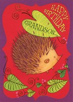 Porcupine with Gold Foil Highlights: Grandson (1 card/1 envelope) Designer Greetings Birthday Card