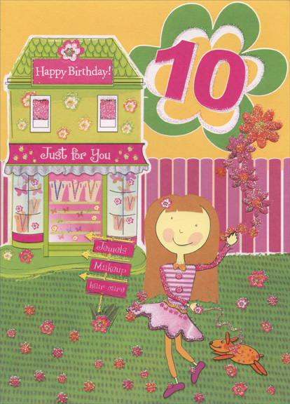 Girl And Dog In Front Of Green Jewelry Store 10th Birthday Card By