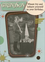 Boy in Box with Pointy Hat: Funny Grandson (1 card/1 envelope) Designer Greetings Birthday Card