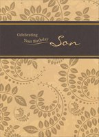 Shiny Swirling Vines on Light Brown: Son (1 card/1 envelope) Designer Greetings Birthday Card