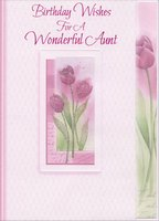 Sparkling Pink Flowers in White Embossed Frame: Aunt (1 card/1 envelope) Designer Greetings Birthday Card
