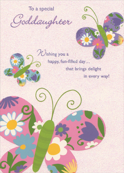 Three Colorful Butterflies On Glitter Background Goddaughter Birthday Card By Designer Greetings
