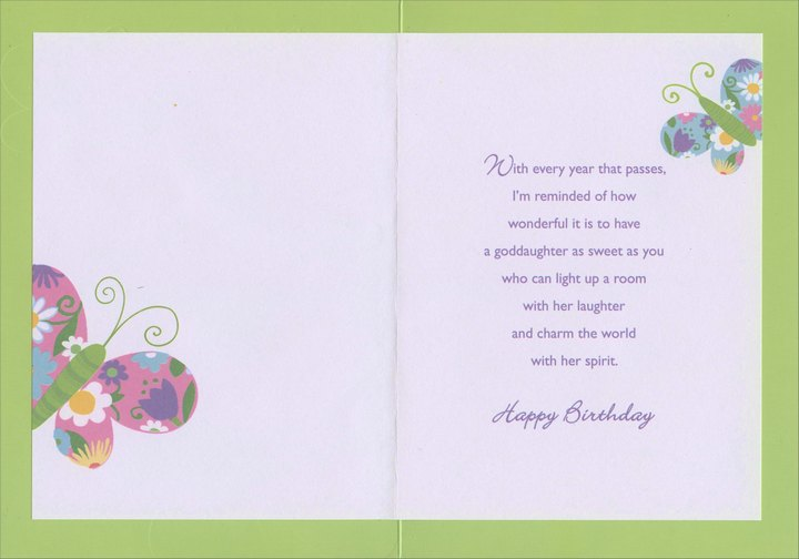 Three Colorful Butterflies on Glitter Background Goddaughter – Goddaughter Birthday Cards