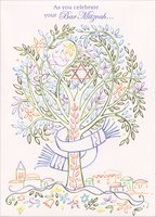 Multi-Colored Tree of Life: Bar Mitzvah (1 card/1 envelope) Designer Greetings Bar Mitzvah Card