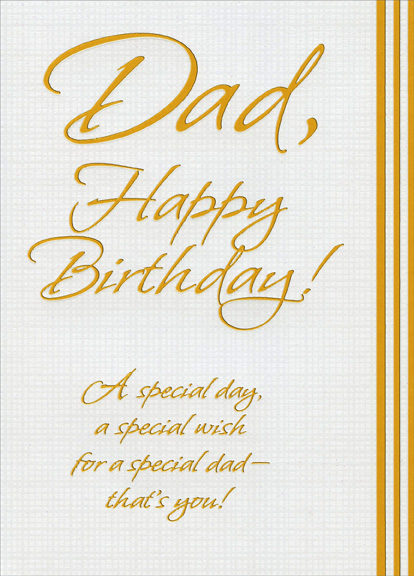 Gold Foil Lettering On White Textured Surface Dad Birthday Card By