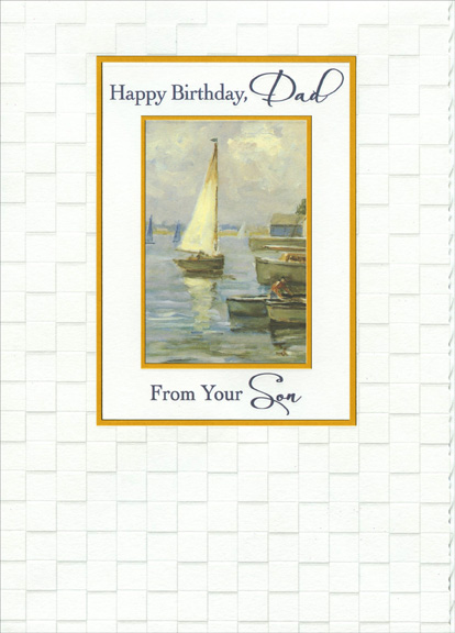 watercolor sailboat in gold foil frames dad from son birthday