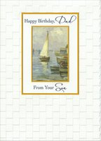 Watercolor Sailboat in Gold Foil Frames: Dad from Son (1 card/1 envelope) Designer Greetings Birthday Card