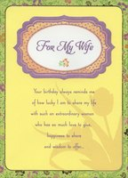 Purple Embossed Banner on Yellow with Floral Border: Wife (1 card/1 envelope) Designer Greetings Birthday Card