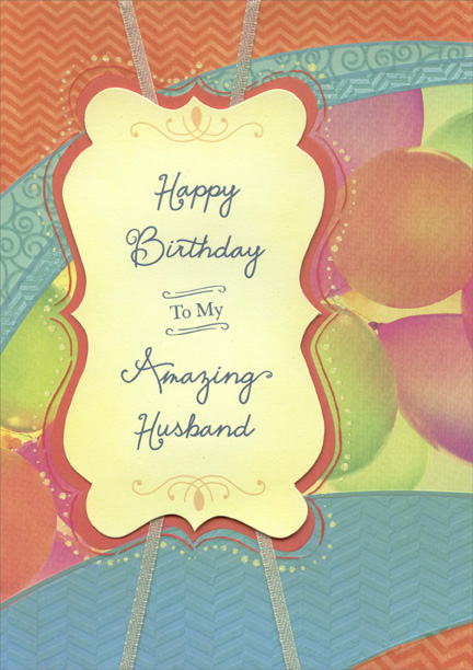 Colorful Balloons Die Cut Banner And White Ribbon Handmade Husband