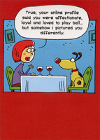 Woman and Dog on Date (1 card/1 envelope) Designer Greetings Funny Dog Valentine's Day Card