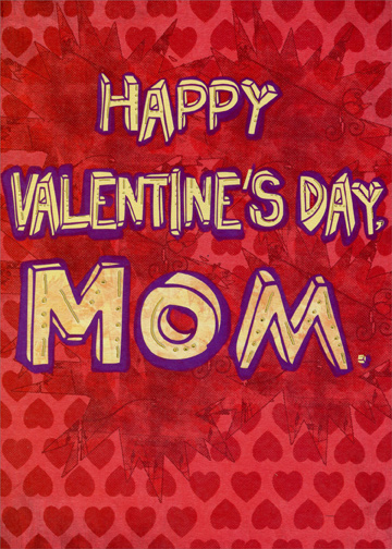 Yellow Letters On Repeated Hearts Mom Funny Valentines Day Card By