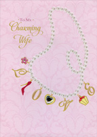Charm Necklace Hand Decorated: Wife (1 card/1 envelope) Designer Greetings Keepsake Valentine's Day Card
