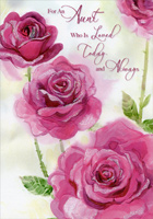 Three Pink Roses: Aunt (1 card/1 envelope) Designer Greetings Valentine's Day Card