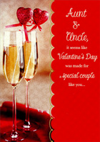 Champagne Glasses: Aunt & Uncle (1 card/1 envelope) Designer Greetings Valentine's Day Card