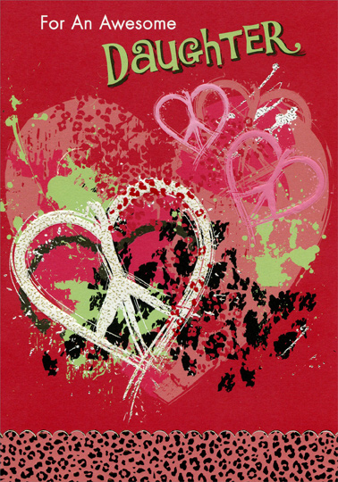 Hearts With Peace Symbols Daughter Teen Teenage Valentines Day
