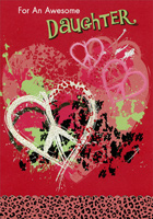 Hearts with Peace Symbols: Daughter (1 card/1 envelope) Designer Greetings Teen / Teenage Valentine's Day Card