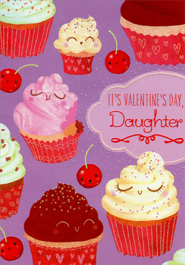cupcakes and cherries daughter juvenile valentines day card by designer greetings - Valentines Day Daughter