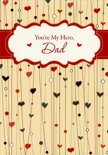 Hearts on Vertical Lines Dad From Daughter Valentines Day Card