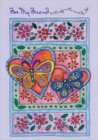 Colorful Butterfles and Hearts: Friend (1 card/1 envelope) Designer Greetings Valentine's Day Card