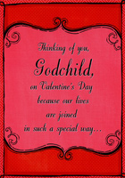 Deep Red Frame: Godchild (1 card/1 envelope) Designer Greetings Valentine's Day Card