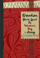 Gold Foil Swirls and Maroon: Grandson (1 card/1 envelope) Designer Greetings Valentine's Day Card