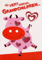 Cow with Heart Candy: Grandchildren (1 card/1 envelope) Designer Greetings Valentine's Day Card