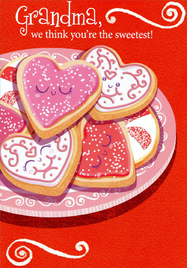 photograph about Sweetest Day Cards Printable identified as Middle Formed Cookies: Grandma Towards Grandkids Valentines Working day