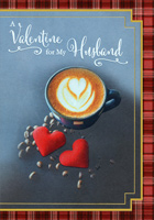 Cappuccino with Heart Shape: Husband (1 card/1 envelope) Designer Greetings Valentine's Day Card