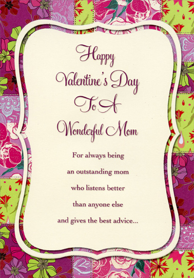 White Panel On Pink And Green Florals Mom Valentine S Day Card By Designer Greetings
