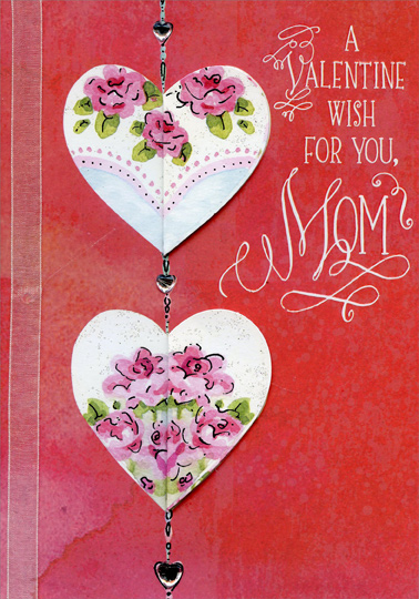 Die cut hearts 3 gems and white ribbon hand crafted mom premium die cut hearts 3 gems and white ribbon hand crafted mom premium keepsake valentines day card by designer greetings m4hsunfo