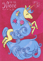 Unicorn with Blue Mane: Niece (1 card/1 envelope) Designer Greetings Juvenile Valentine's Day Card