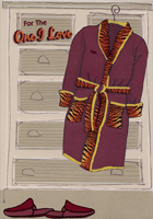 Maroon Robe and Slippers: One I Love (1 card/1 envelope) Designer Greetings Masculine Valentine's Day Card