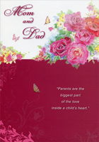 Tiny Butterflies and Pink Roses: Mom and Dad (1 card/1 envelope) Designer Greetings Parents Valentine's Day Card