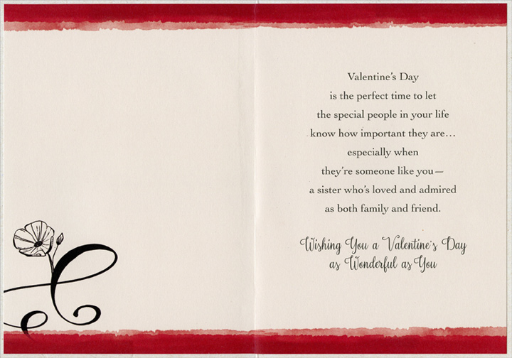 Red Flower and Black Swirls Sister Valentines Day Card by