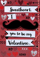 Tip On Mustache Hand Decorated: Sweetheart (1 card/1 envelope) Designer Greetings Masculine Premium Valentine's Day Card